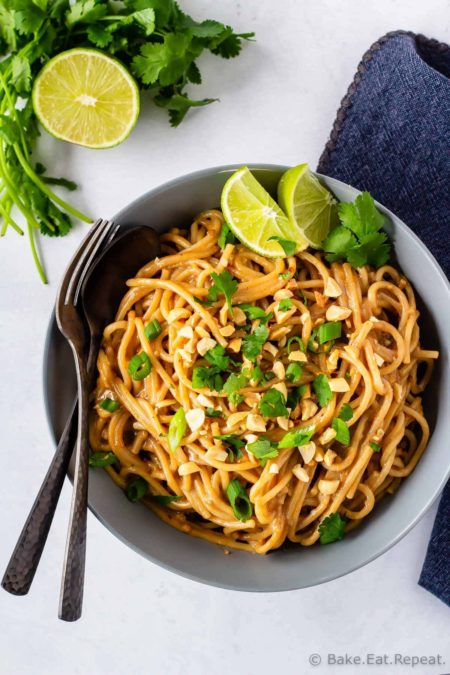 Homemade peanut noodles