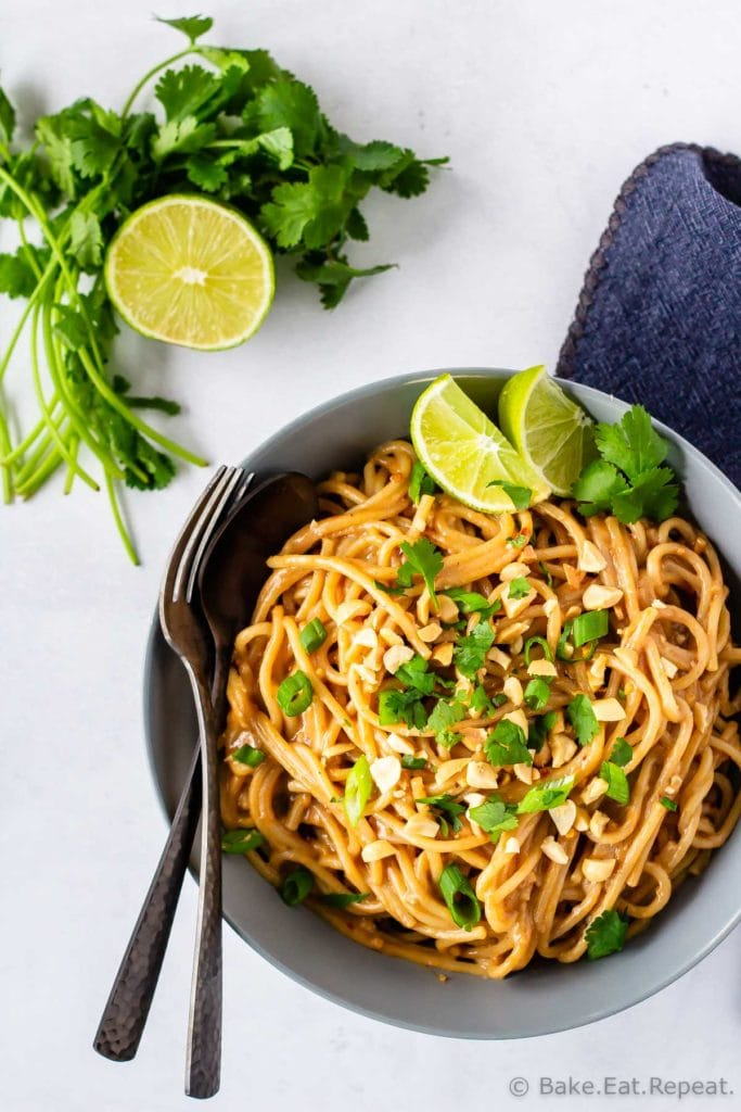 Easy to make peanut noodles with homemade peanut sauce