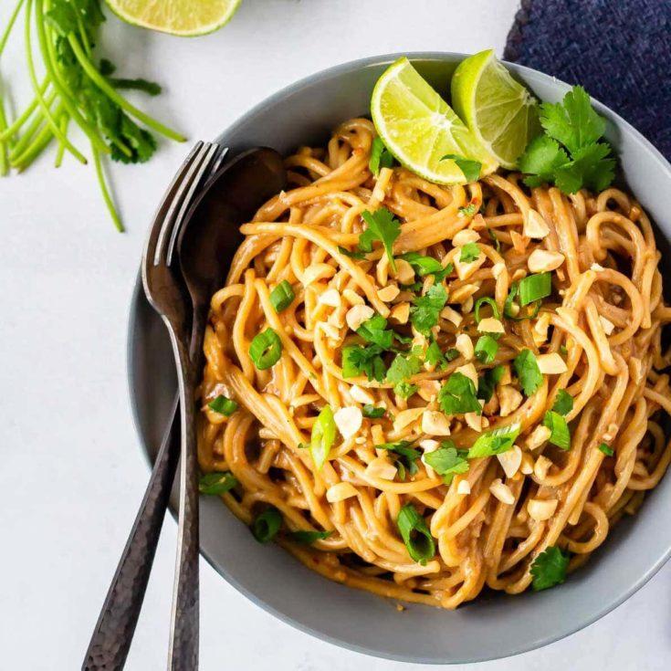 Homemade peanut noodles