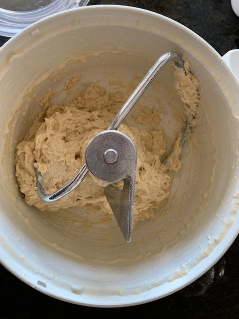 Under floured bread dough - if the dough looks like this, you need to add a bit more flour.