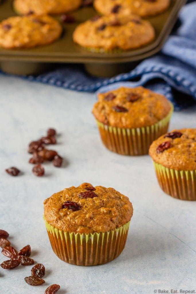 Healthy raisin bran muffins