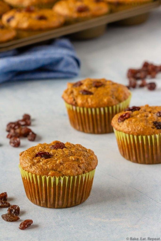 Healthy make ahead refrigerator raisin bran muffins