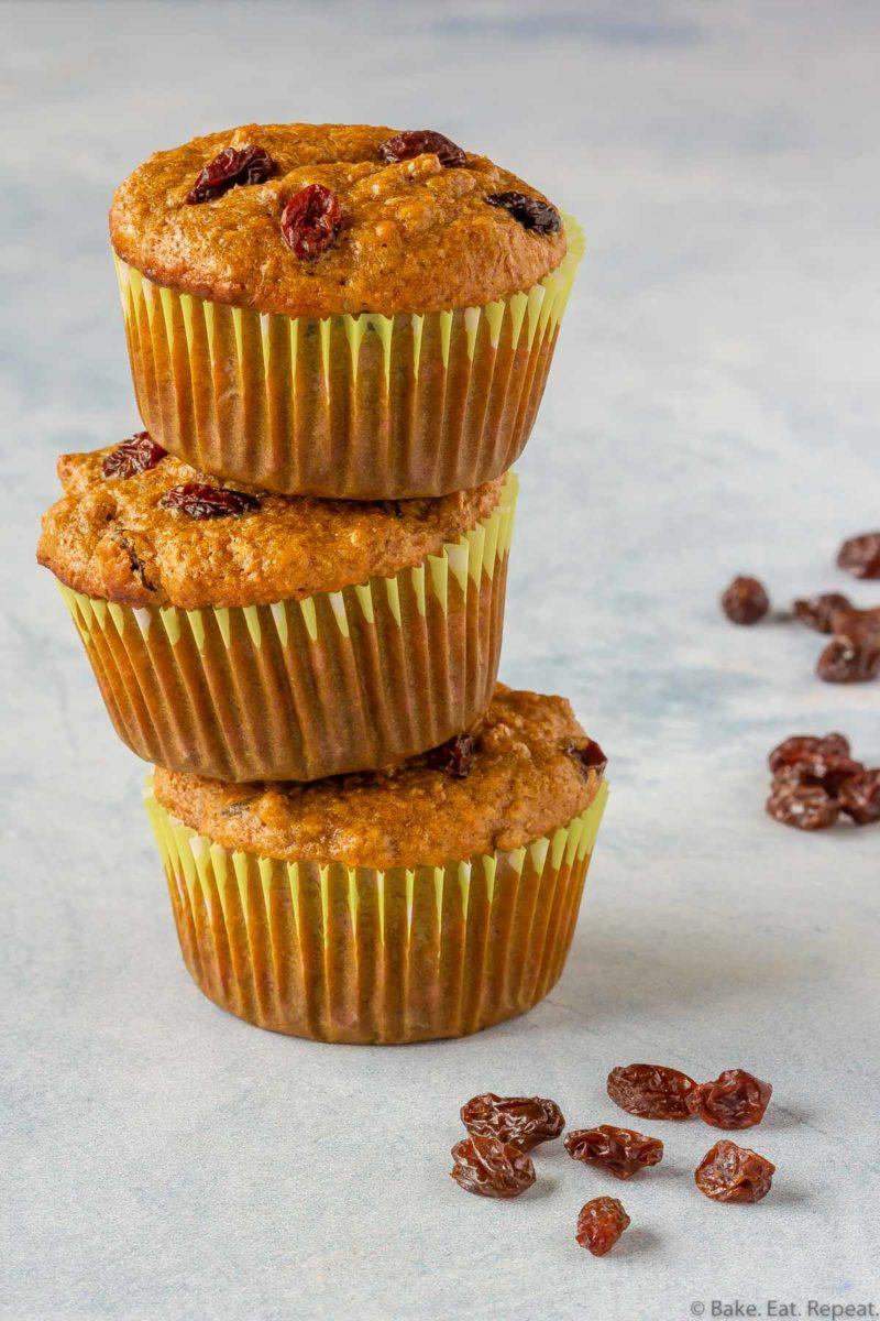 Quick and easy, make ahead raisin bran muffins