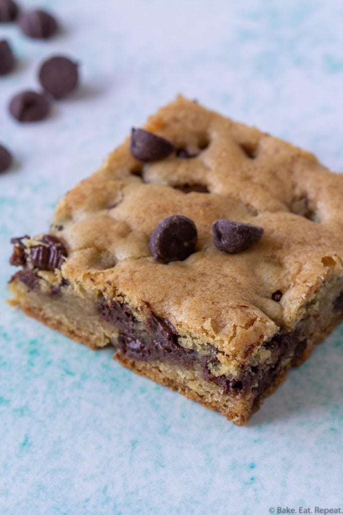 soft and chewy chocolate chip cookie bars