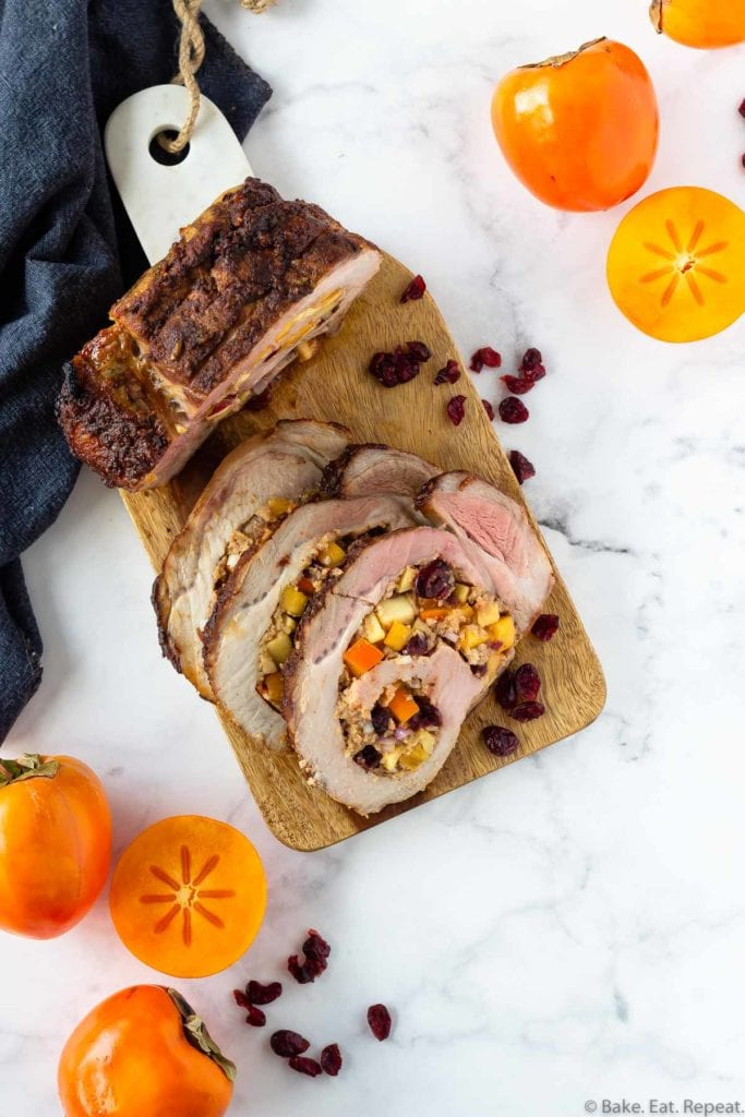 cranberry and apple stuffed pork loin