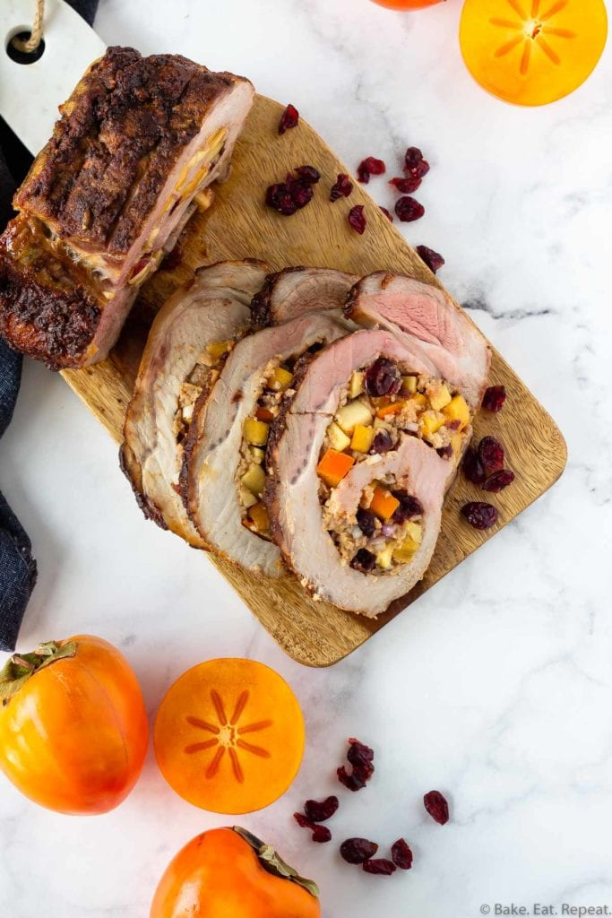 persimon cranberry and apple stuffed pork loin