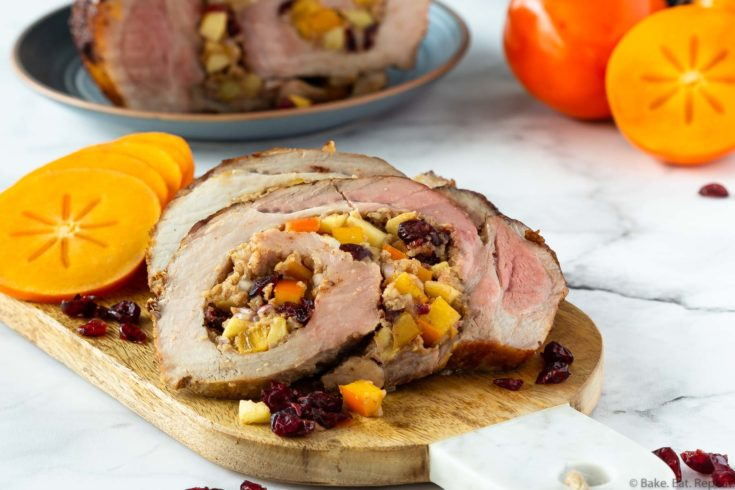 persimmon cranberry and apple stuffed pork loin
