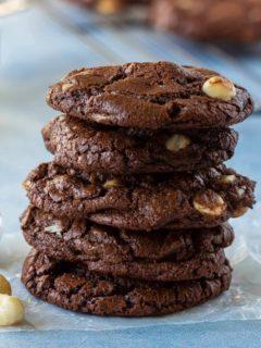 triple chocolate macadamia nut cookies