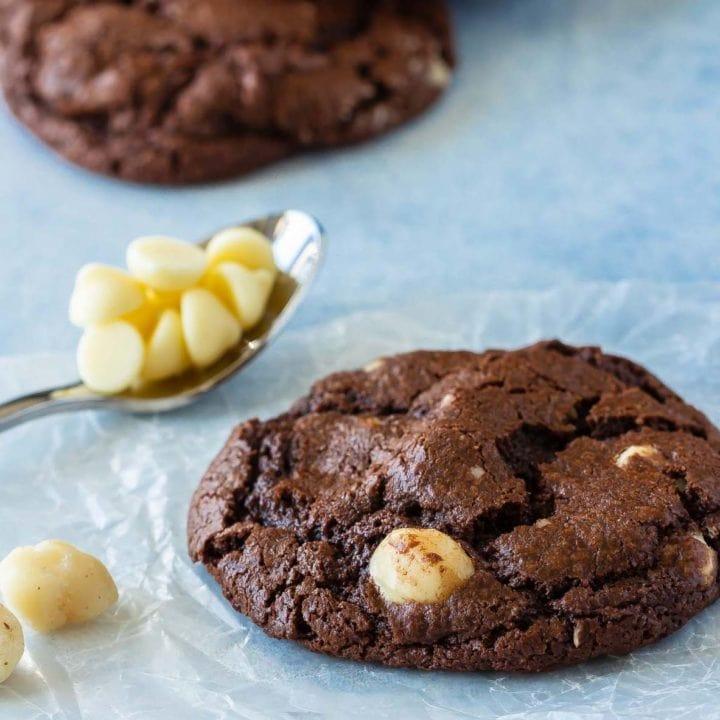 easy triple chocolate macadamia nut cookies