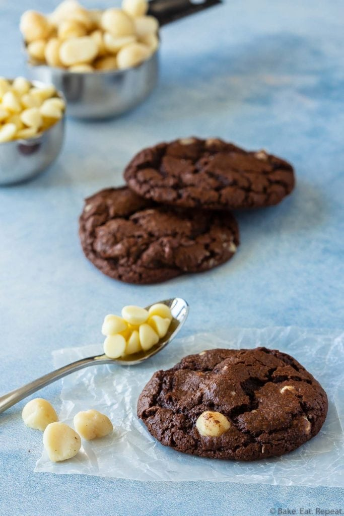 chocolate cookies loaded with macadamia nuts, dark chocolate chips, and white chocolate chips