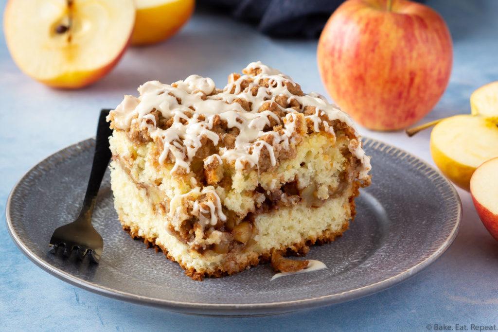 A piece of apple cinnamon coffee cake on a plate