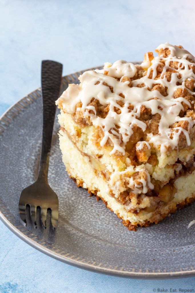 Piece of apple cinnamon coffee cake on a plate