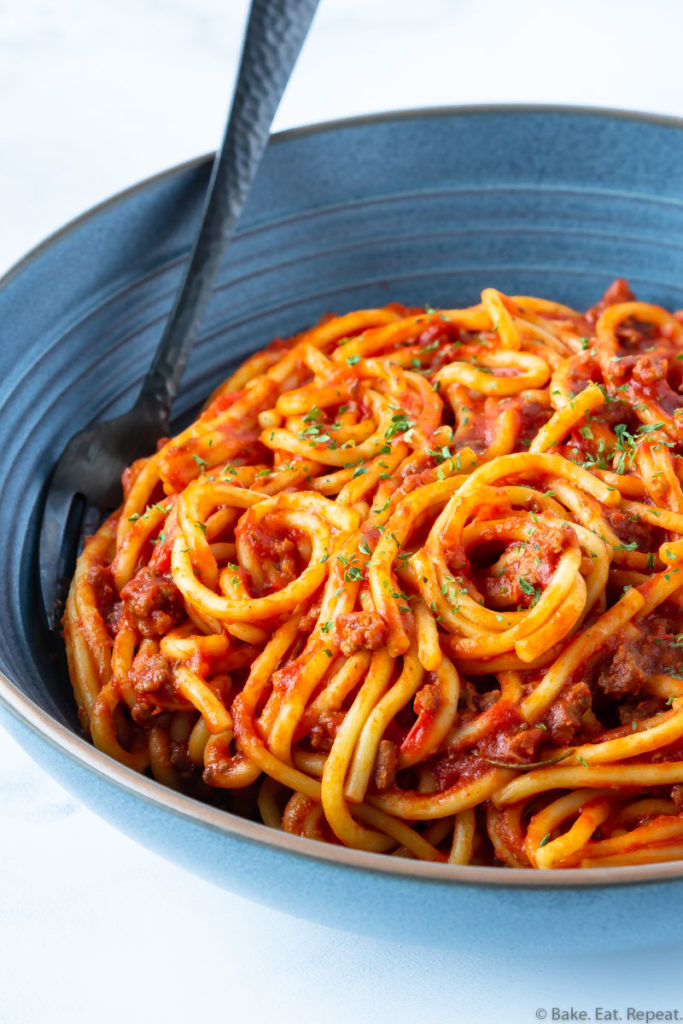 bowl of spaghetti and meat sauce made in the Instant Pot