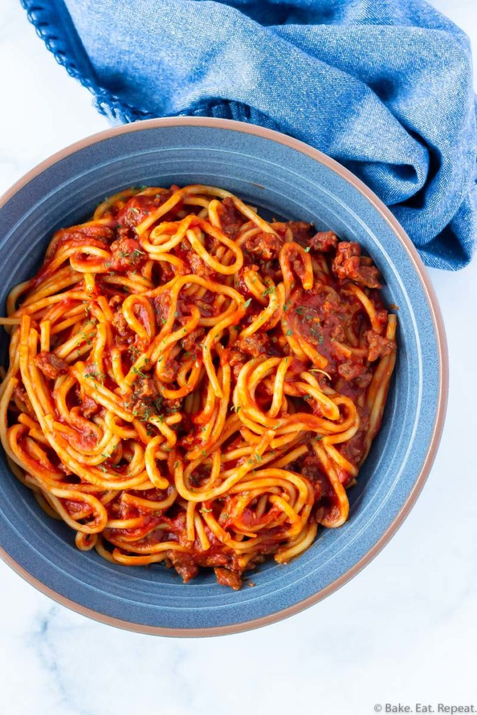 A bowl of spaghetti and meat sauce cooked in the Instant pot