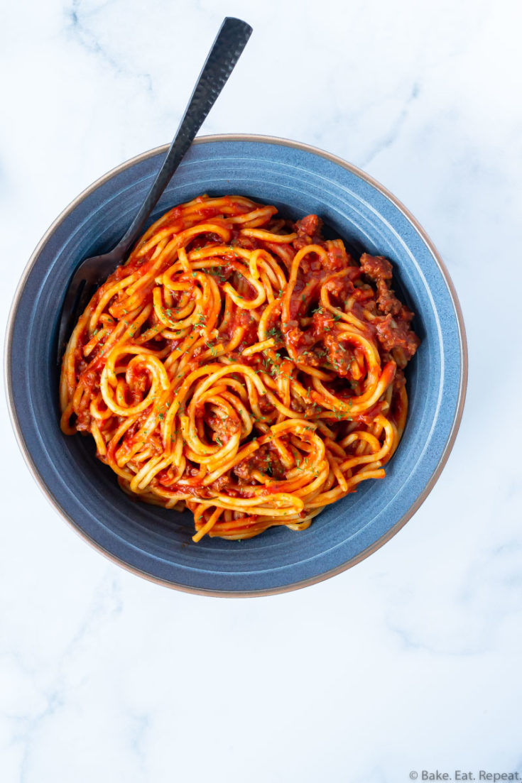 Instant Pot spaghetti and meat sauce in a bowl.