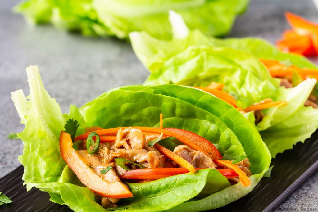 Hoisin chicken lettuce wraps.