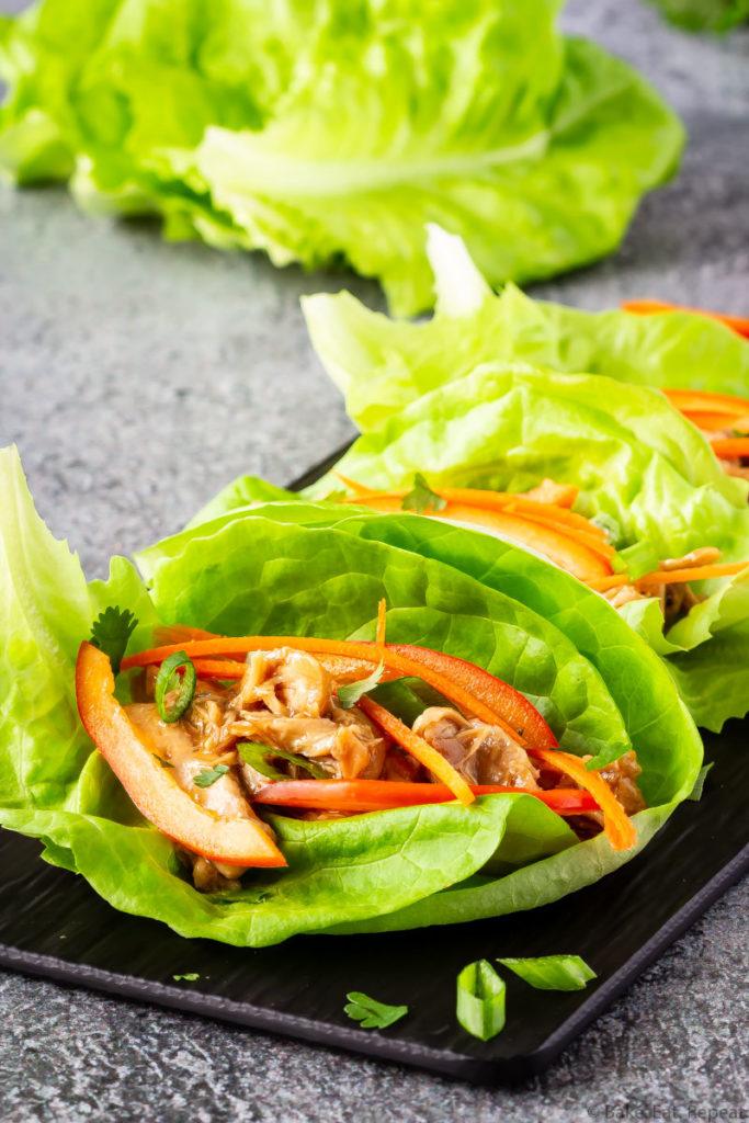 Easy to make hoisin chicken lettuce wraps on a platter.
