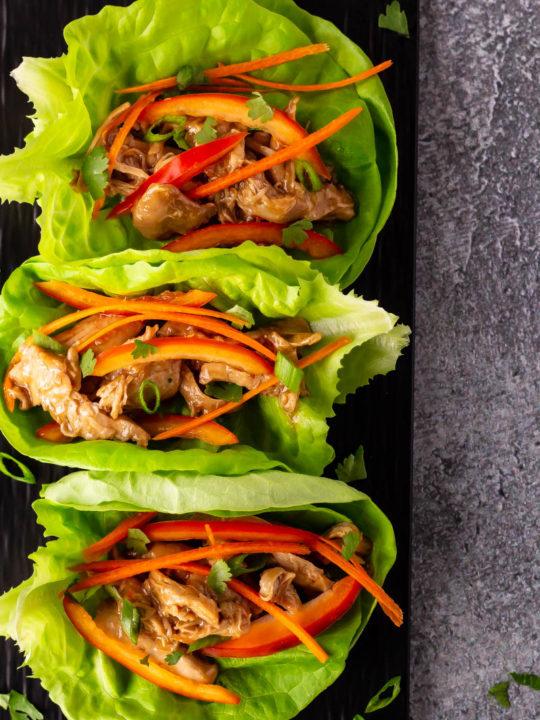 Slow Cooker Hoisin Chicken Lettuce Wraps