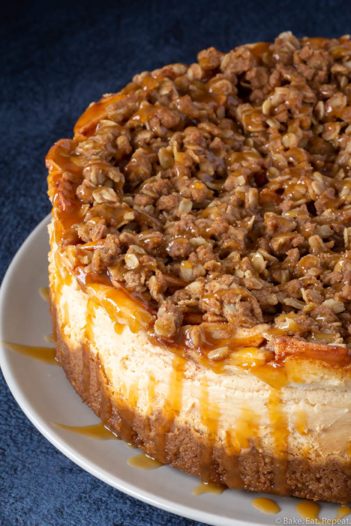 Easy apple cheesecake with a crumble topping and caramel sauce.