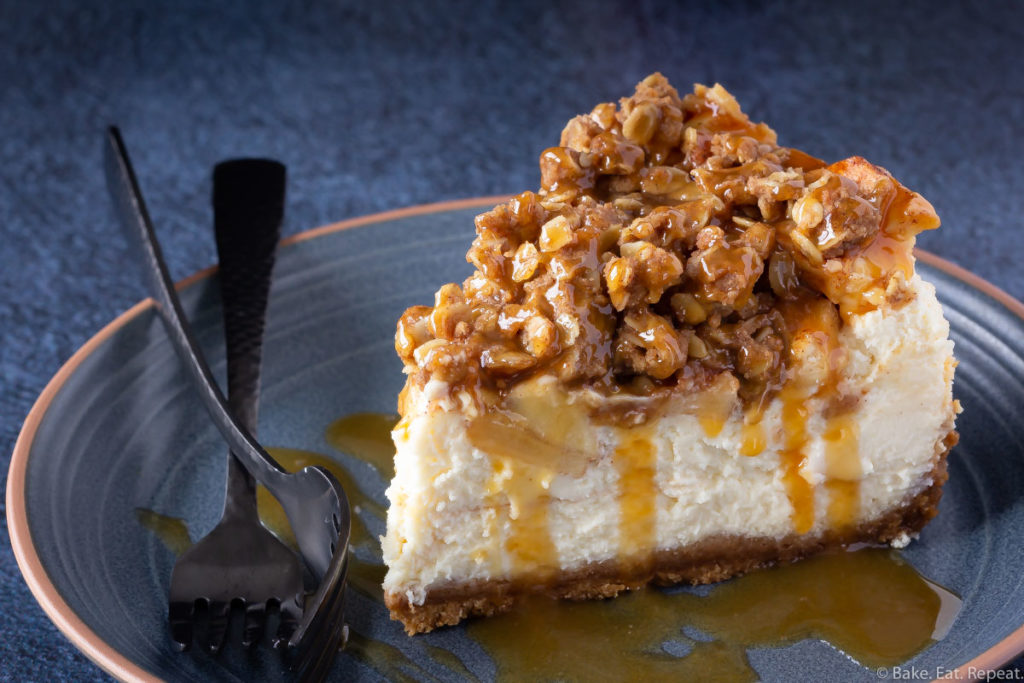 Easy vanilla cheesecake with an apple crisp topping and caramel sauce.