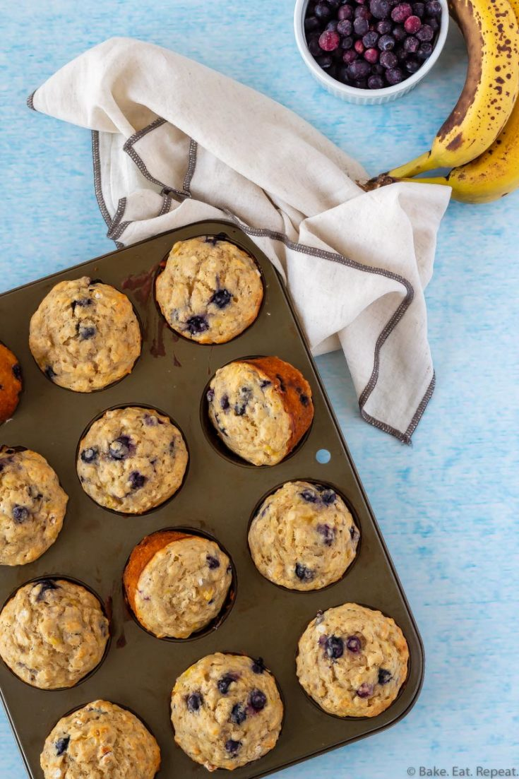 easy, healthy, blueberry banana oatmeal muffins