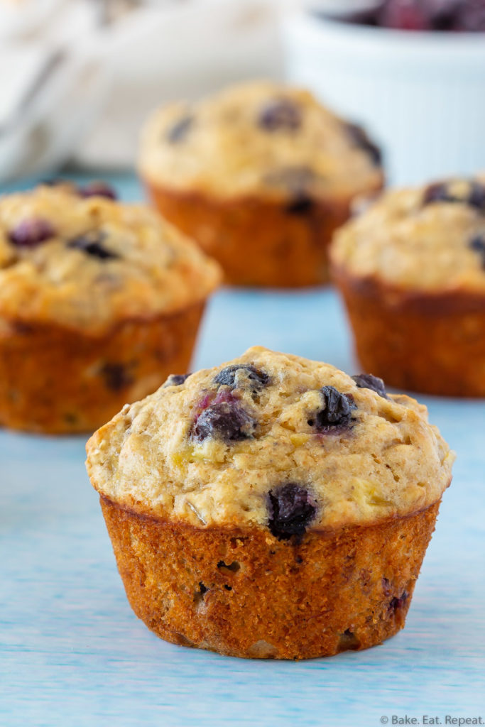 healthy banana oatmeal muffins with blueberries