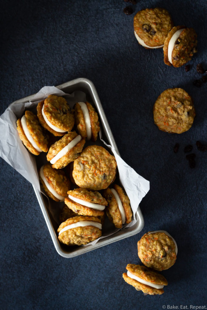 soft and chewy carrot cake sandwich cookies