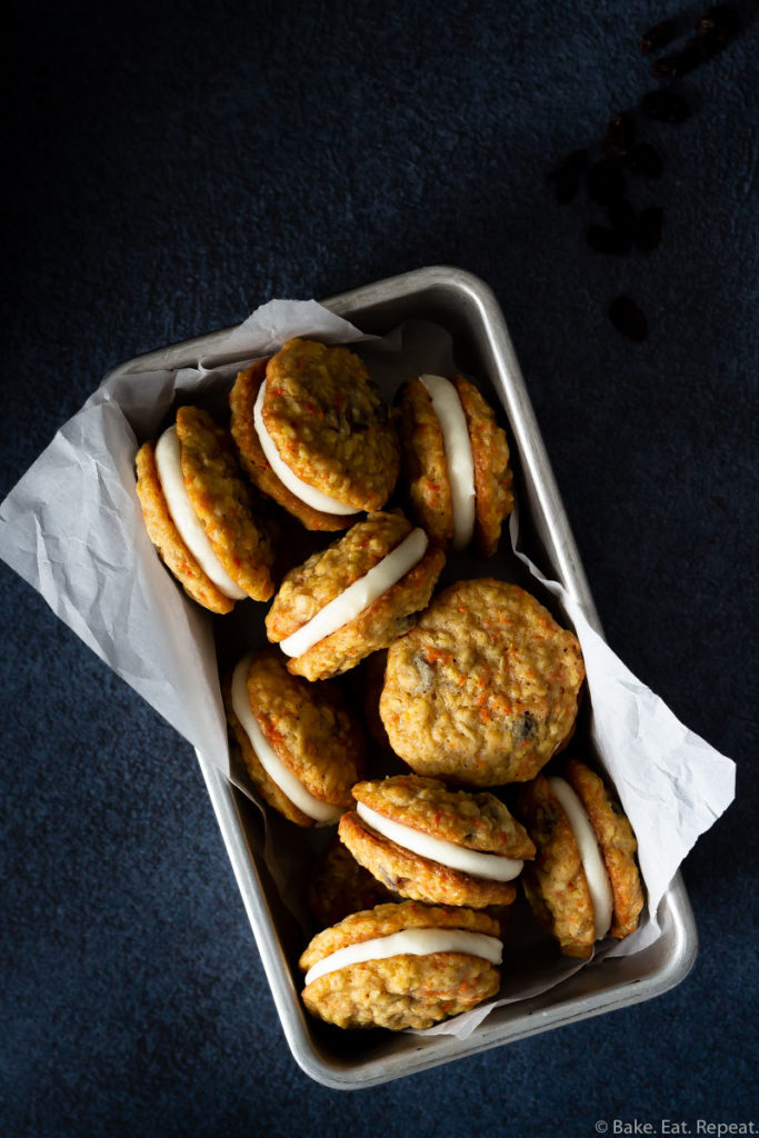 chewy carrot oatmeal raisin sandwich cookies with cream cheese frosting