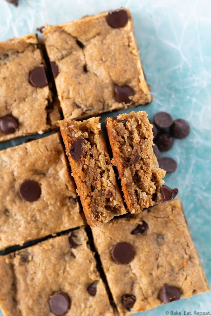 Easy to make, chewy chocolate chip oatmeal peanut butter bars.
