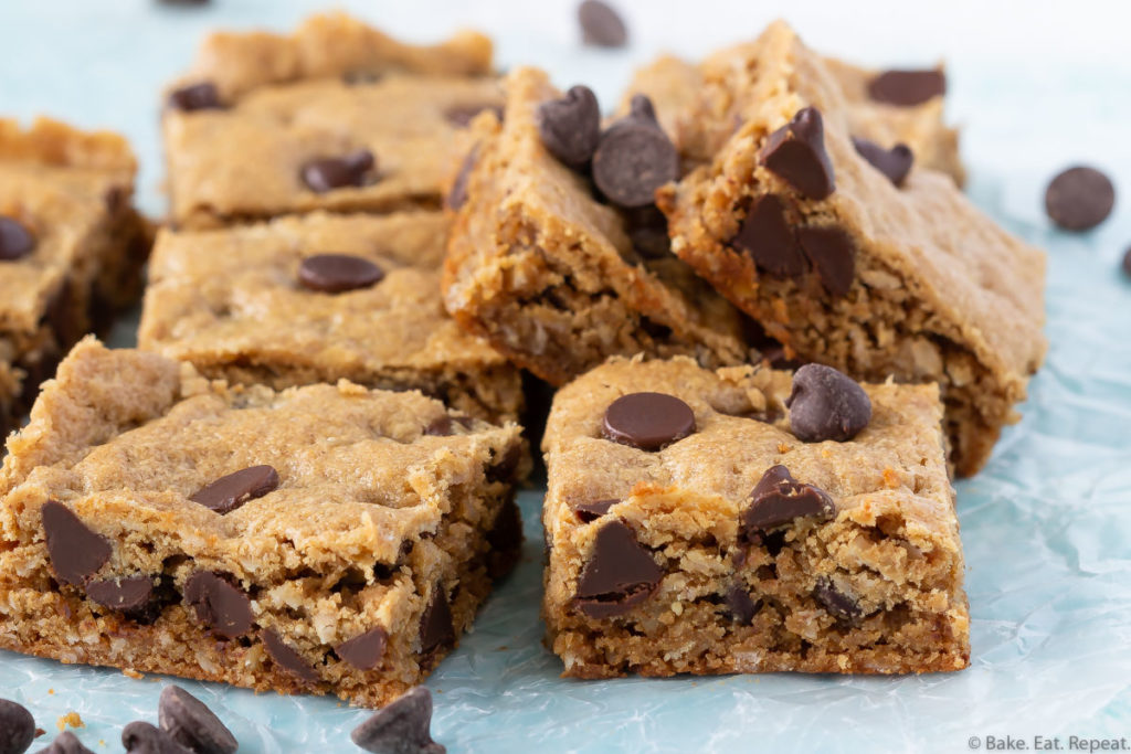 Chewy oatmeal chocolate chip peanut butter bars.