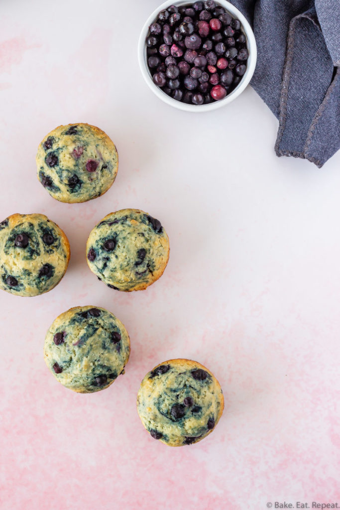 easy to make, healthier, light and fluffy blueberry muffins