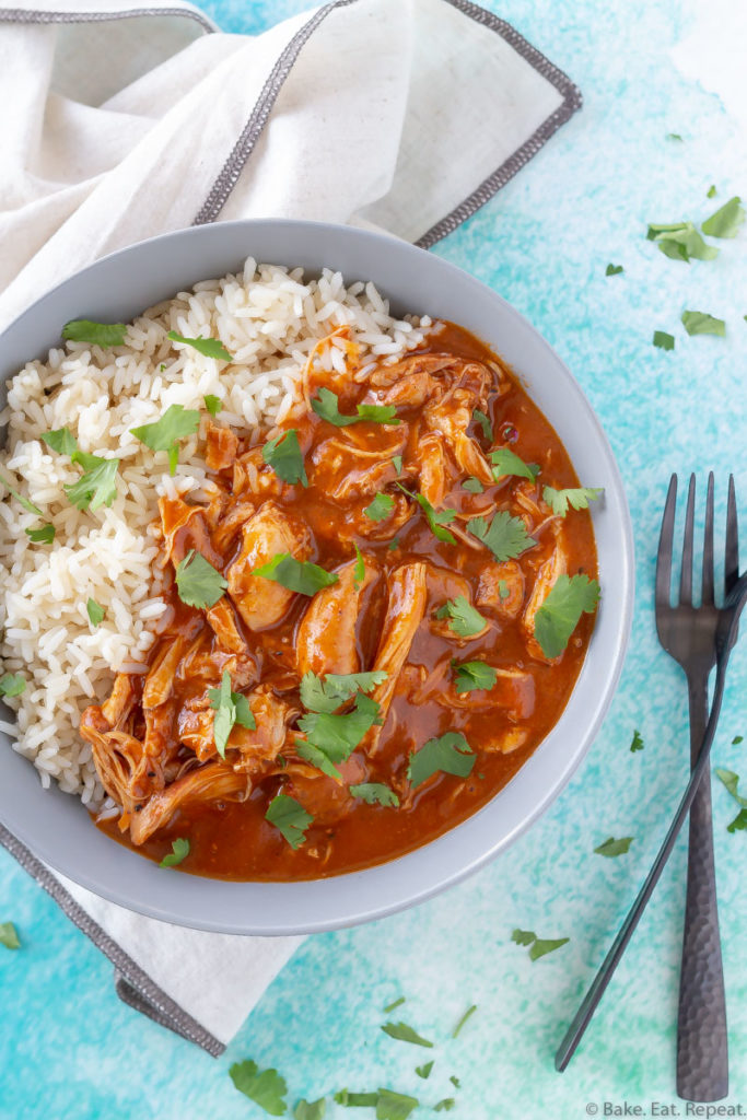 A bowl of Instant Pot butter chicken and rice.