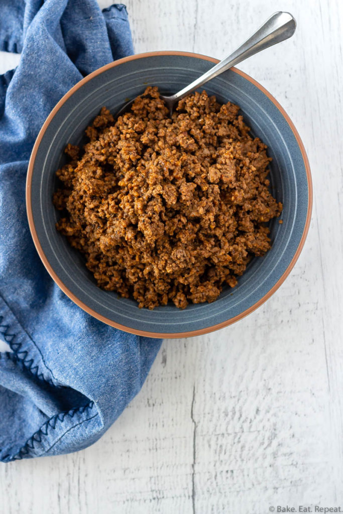 A bowl of cooked ground beef taco meat.