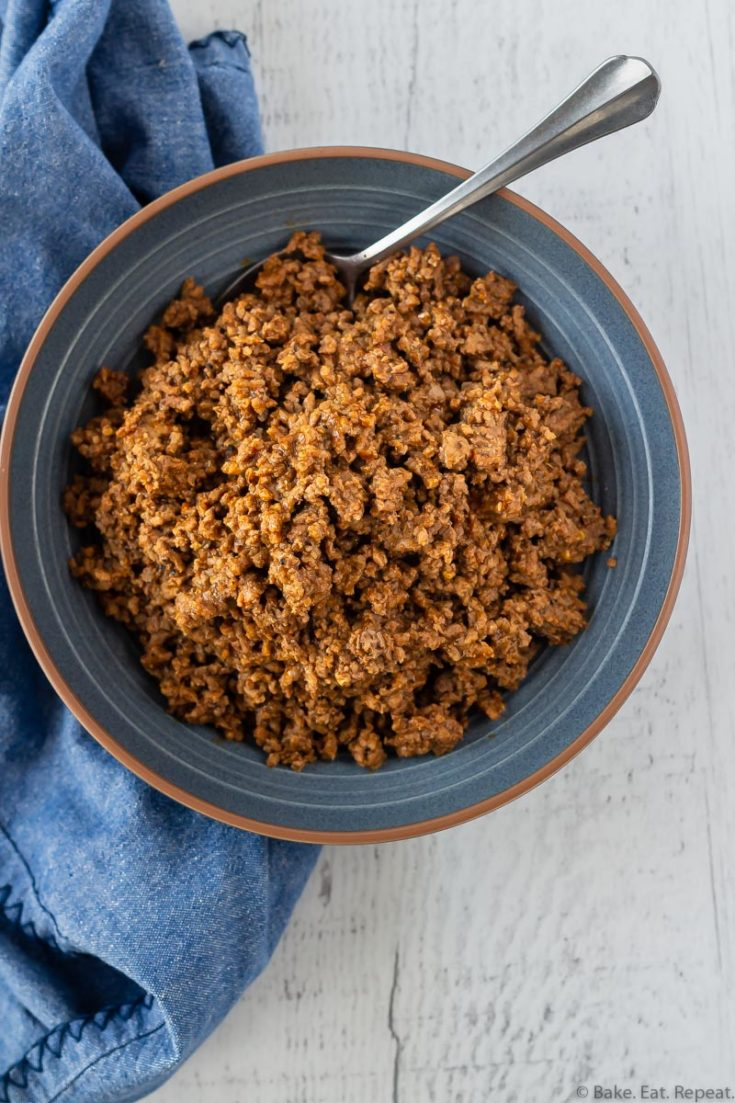 Taco meat in a bowl made from frozen ground beef in the Instant Pot.
