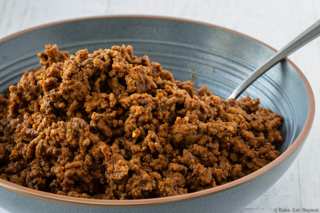 Cooked Instant Pot taco meat in a bowl.