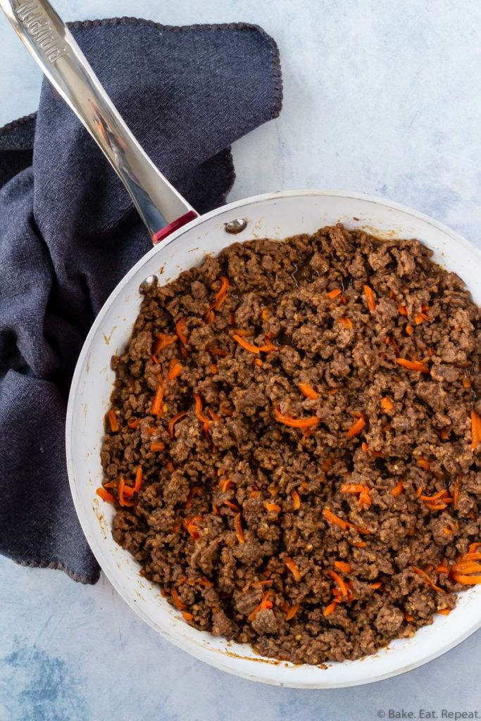 Korean beef in a skillet made in just 15 minutes.