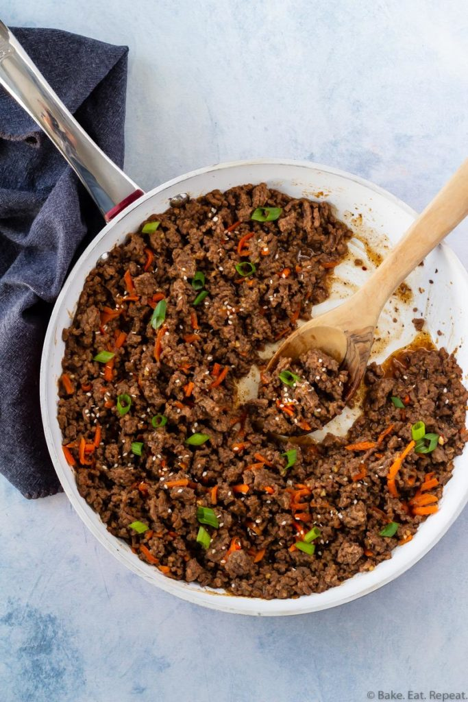 Easy Korean ground beef made in a skillet in just 15 minutes.