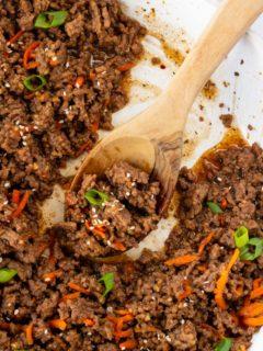 Korean ground beef in a skillet.