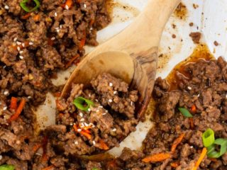 Korean ground beef in a skillet.