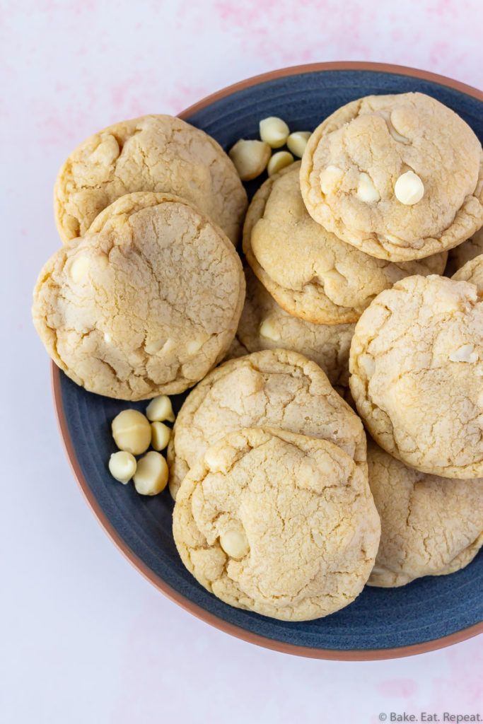 chewy macadamia nut cookies with white chocolate