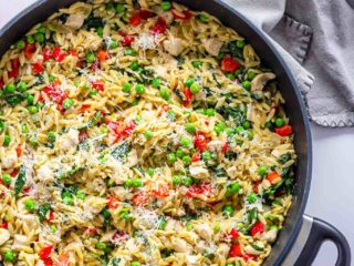 one pot lemon orzo with chicken and parmesan