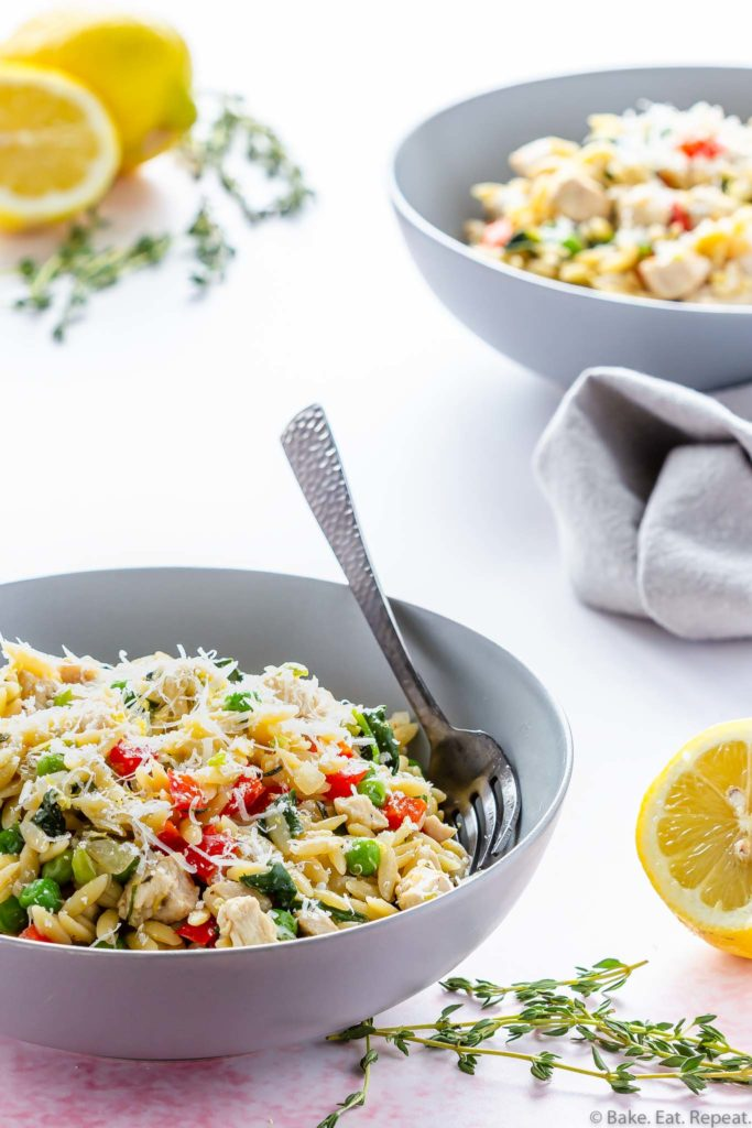 one pot lemon parmesan orzo with chicken and vegetables