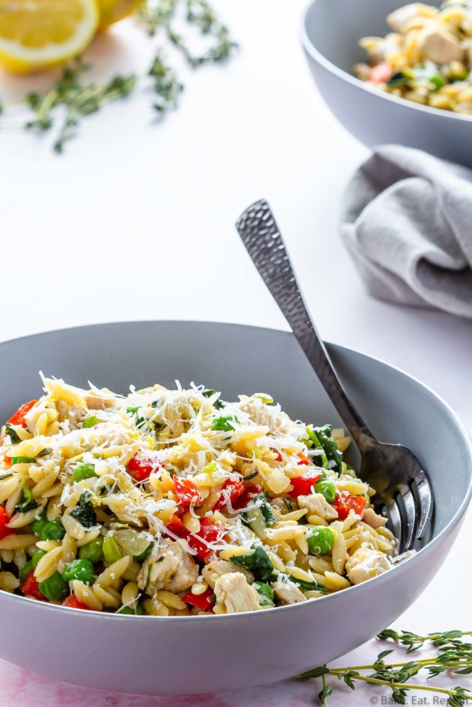 lemon orzo with chicken and parmesan made in one pot