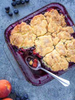 easy blueberry peach cobbler