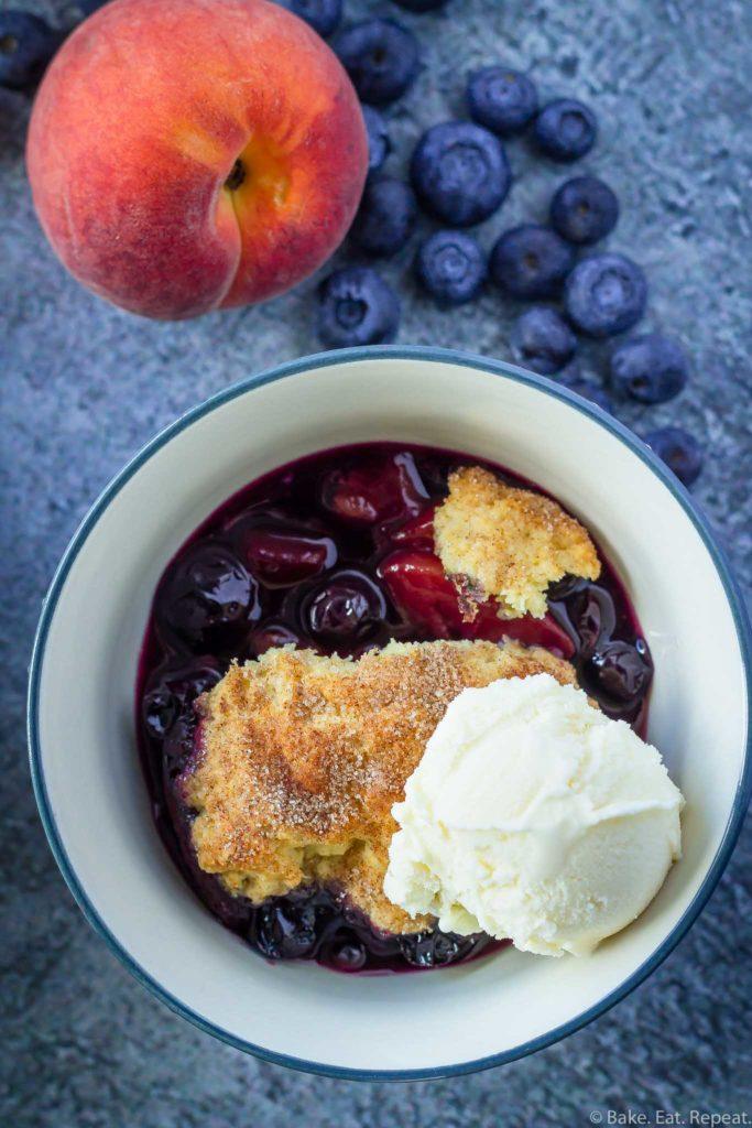 homemade blueberry peach cobbler