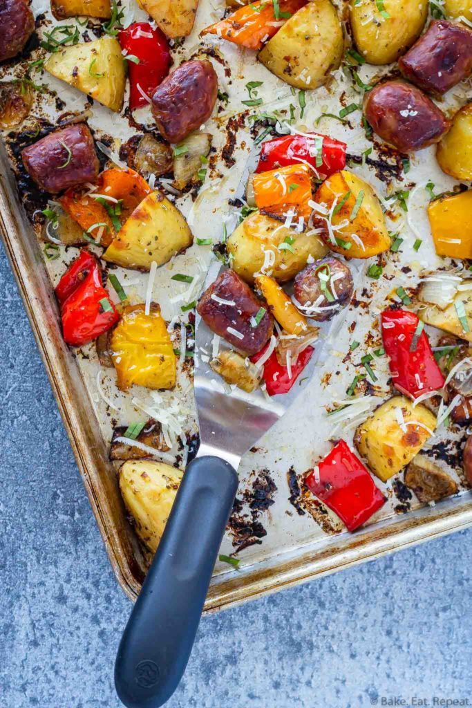 sheet pan Italian sausage and peppers